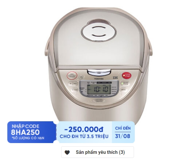 Nồi cơm điện cao tần Toshiba